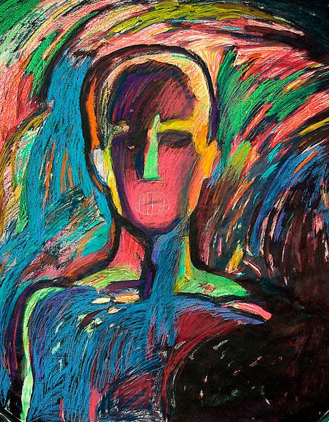 Рисунок пастелью Человек